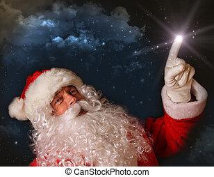santa, ライト, 空, 魔法, 指すこと