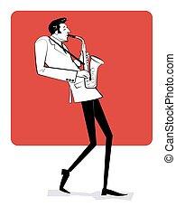 saxophone., 手, 人, 遊び, 概念, sketch., 型, 引かれる, poster., イラスト, ジャズ