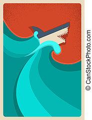 sea., 青い背景, ベクトル, ポスター, サメ
