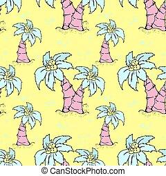 seamless, 背景, 夏, パターン, coconut., 浜, やし, イラスト, elements., ベクトル, 引かれる, 主題, 木, 手, オブジェクト, ファッション