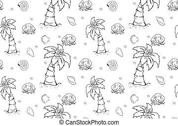 seamless, 背景, 夏, ファッション, 主題, イラスト, パターン, 殻, ココナッツ, 浜, 他。, オブジェクト, 手, elements., 引かれる