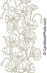 (seamless, pattern), 手, flowers., ベクトル, 背景, 引かれる
