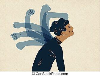 self-harm, 半透明, カラフルである, self-abasement, 幽霊, ベクトル, style., 乱打, 有罪, イラスト, 概念, 心理上である, self-flagellation, 平ら, 手, 現代, man., feeling., self-punishment