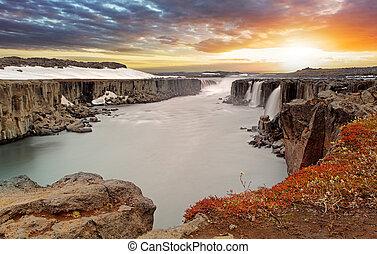 selfoss, 北東, vatnajokull, アイスランド, 国立公園, 滝