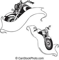 set., ベクトル, オートバイ, ribbons.