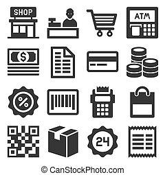 set., ベクトル, 買い物, 金融, アイコン