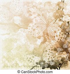 (, set), 1, 蝶, ベージュのバックグラウンド, 花, ラン