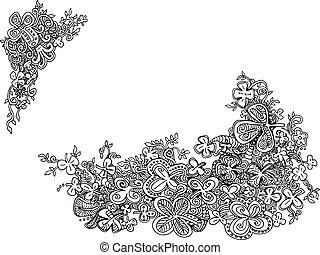 shamrock, クローバー, hand-drawn, doodles