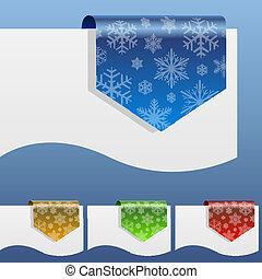 shapes., 曲がった, 冬, ラベル, ペーパー, 割引, 端, ブランク, 雪片, のまわり