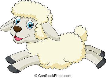 sheep, かわいい, 跳躍, 漫画