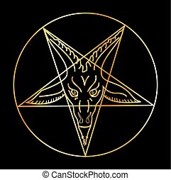sigil, baphomet-, 金, satanism