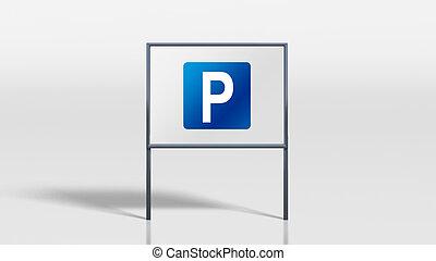 signage, 交通, 立つ, 駐車