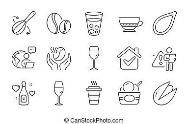 signs., 氷, 種, アイコン, コーヒー, お茶, 豆, カボチャ, set., コーヒー, クリーム, wineglass, ベクトル