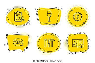 signs., algorithm, スパナー, 星, 会計, ドル, 道具, ターゲット, ベクトル, set., アイコン, テクニカル, wineglass, レポート