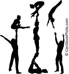 silhouette., ベクトル, 黒, 曲芸師, 体操選手, stunt., 曲芸的