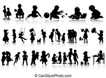 situations., イラスト, シルエット, ベクトル, 様々, 子供