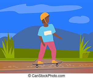 skateboarder, ヘルメット, 保護である, 乗馬, 屋外で