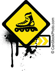 skates., グランジ, ローラー, 印