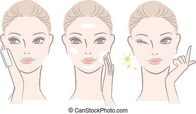 skincare, 適用, 女, ローション