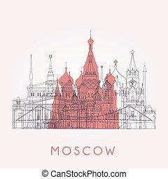 skyline., モスクワ, アウトライン