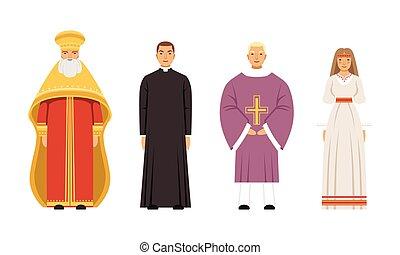 slavic, 女, 異教徒, 正統, カトリック教, 司祭, 教区牧師, 人々, ベクトル, ∥あるいは∥, 牧師, イラスト, コレクション, 衣服, 特徴, 大都市である, 伝統的である, 宗教