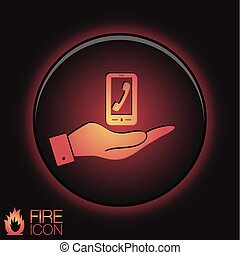 smartphone, 受話器, 電話, 手の 保有物, シンボル