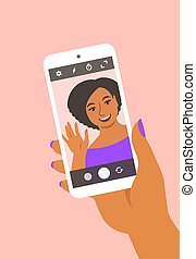 smartphone, 彼女, selfie, 取得, 黒人の少女