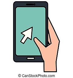 smartphone, 手, アイコン