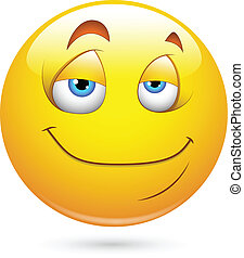 smiley, 満足させられた, 顔