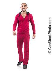sportdman, 隔離された, 若い, スーツ, 白い赤