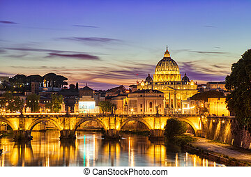 st. 。, ローマ, 大聖堂, ピーター, 夕闇, 照らされた