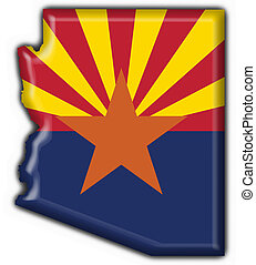 state), アリゾナ, (usa, 旗, 地図, ボタン, 形