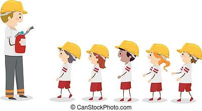stickman, キャンプ, 消防士, 線, 子供, イラスト, 火