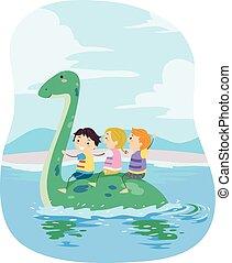 stickman, 子供, 浜, plesiosaur