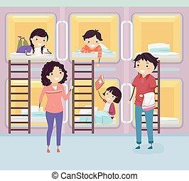 stickman, 部屋, 家族, ホテル, イラスト, カプセル