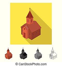 stock., 正統, シンボル。, コレクション, ベクトル, デザイン, 教会, チャペル, アイコン