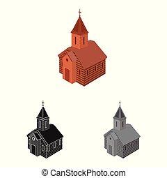 stock., 正統, 印。, オブジェクト, 隔離された, コレクション, ベクトル, 教会, チャペル, アイコン