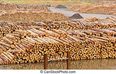 stockpiled, ありなさい, 製材, 準備ができた, 材木, 粉にされた