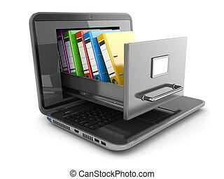 storage., ラップトップ, binders., キャビネット, ファイル, リング, データ