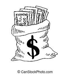 style., 印。, sketchy, お金 袋, ドル