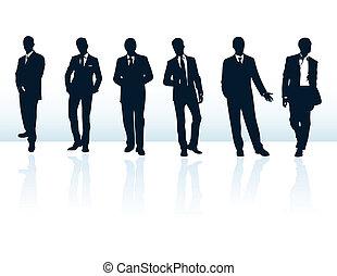 suits., もっと, ビジネスマン, 青, シルエット, 私, セット, ベクトル, 暗い, gallery.