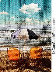 sunbeds, 写真, 浜の 砂, レトロ