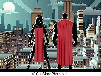 superhero, 恋人, 腕時計, 夜
