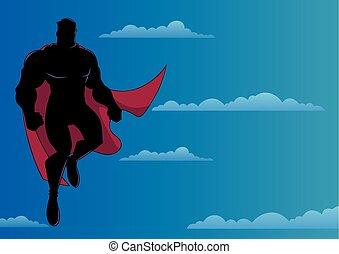 superhero, 飛行, 空