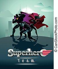 superhero, team;, light., ポーズを取る, チーム, 前部, poster., superheroes