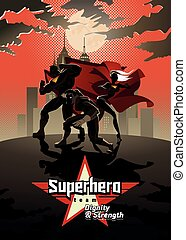 superhero, team;, light., ポーズを取る, チーム, 前部, superheroes