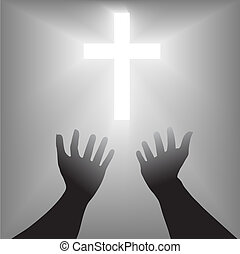 supplication, シルエット, 交差点, 手