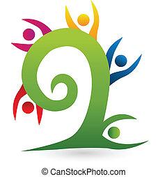 swirly, 木, チームワーク, ロゴ