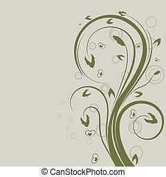 swirly, space., 要素, ベクトル, デザイン, 花, 緑, コピー