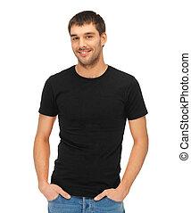tシャツ, 人, 黒, ブランク